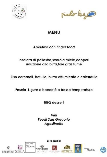 menu CHIC serata del 25.07.2013