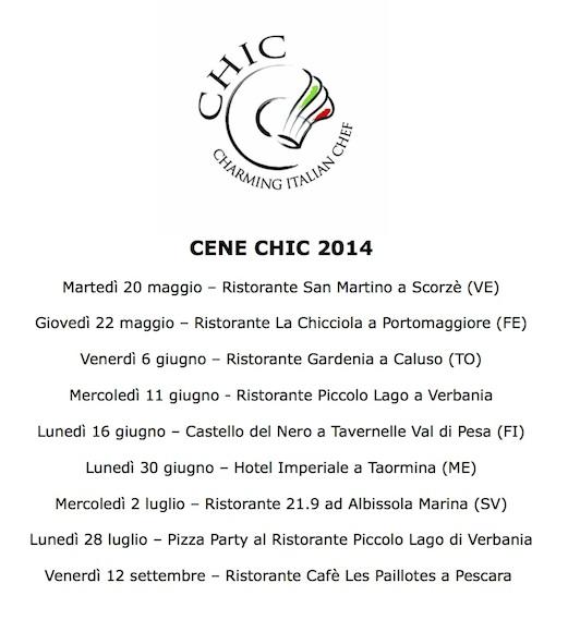 Calendario Cene Chic 2014