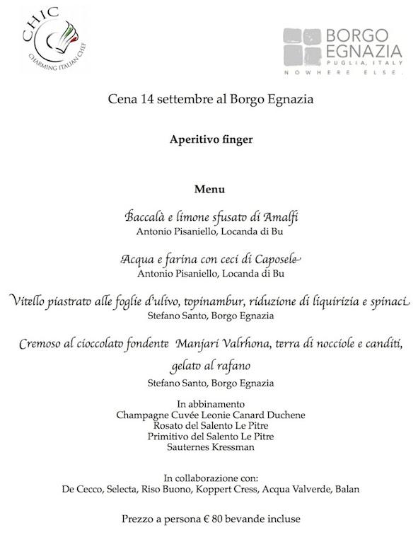 menu cene CHIC 14 borgo