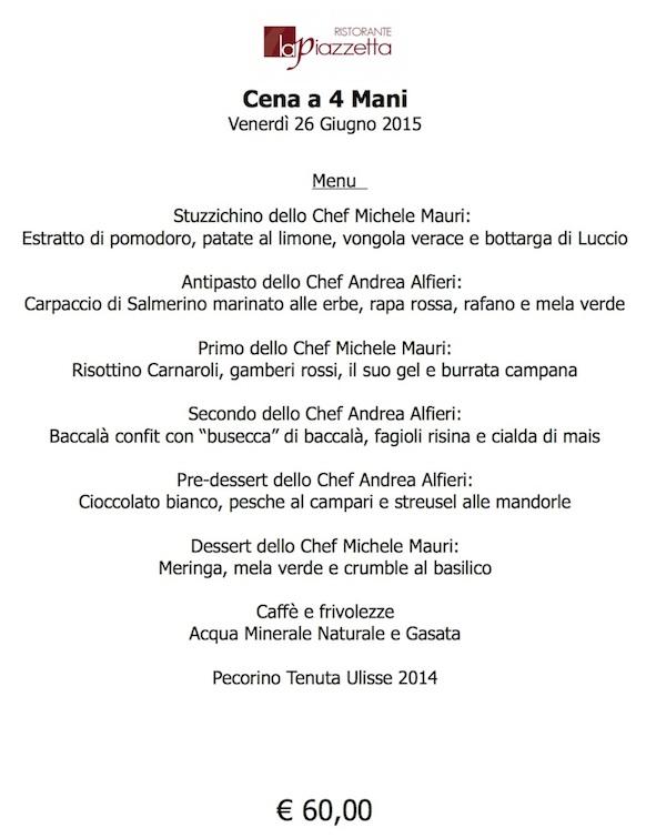 Cena 4 mani con Alfieri 26 Giugno 2015